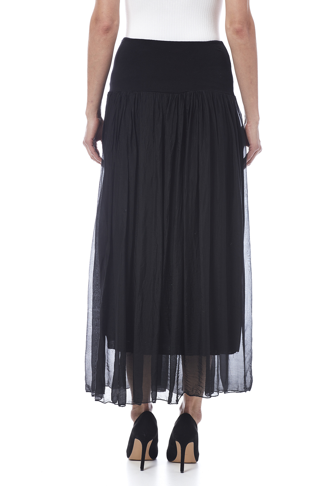 tu-anh boutique Black Silk Maxi Skirt from Alexandria by tu-anh ...