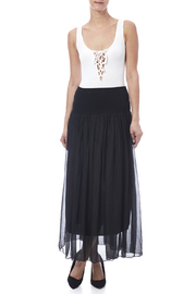 tu-anh boutique Black Silk Maxi Skirt - Front full body
