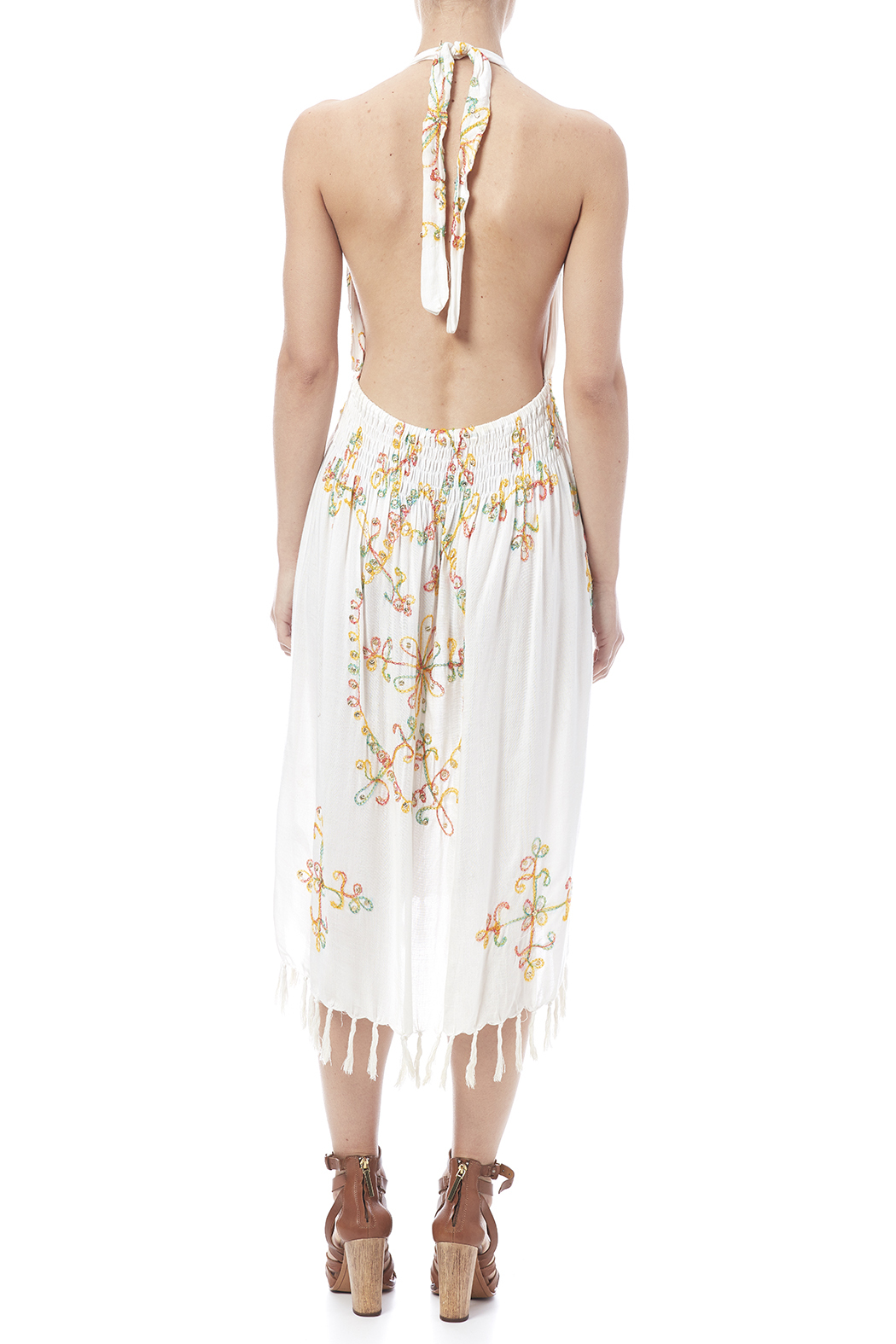 tu-anh boutique Halter Embroidery Dress - Back Cropped Image