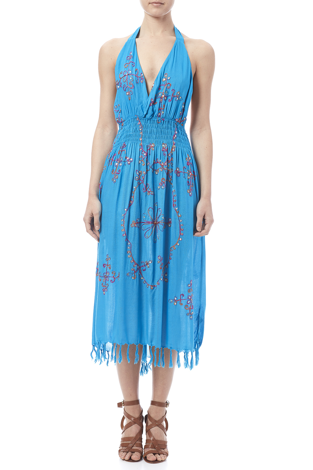 tu-anh boutique Halter Embroidery Dress - Front Cropped Image