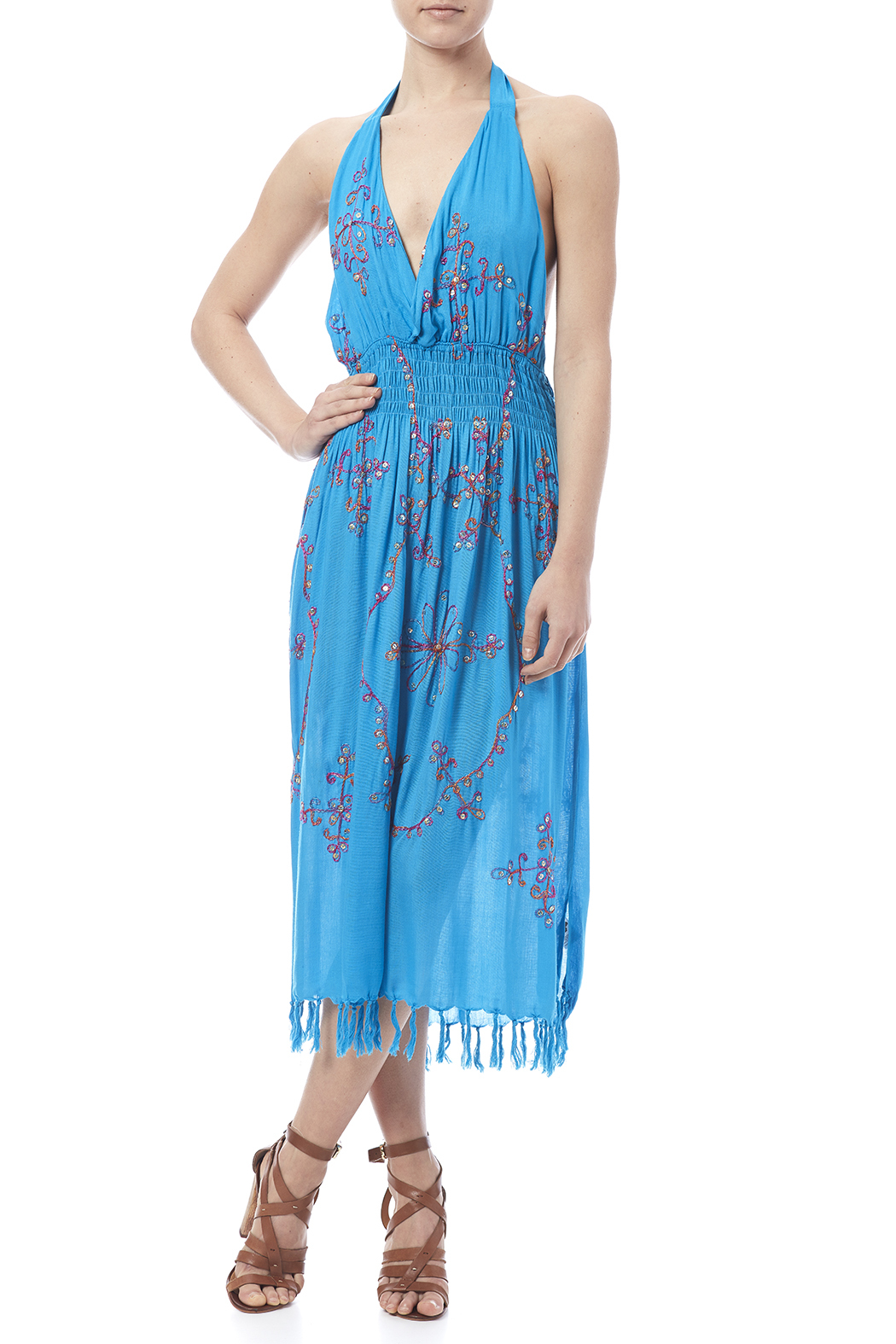tu-anh boutique Halter Embroidery Dress - Front Full Image