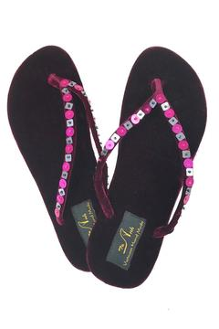 tu-anh Burgundy Velvet Flip-Flop - Alternate List Image