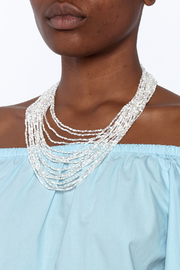 tu-anh Opaque White Glass Necklace - Back cropped