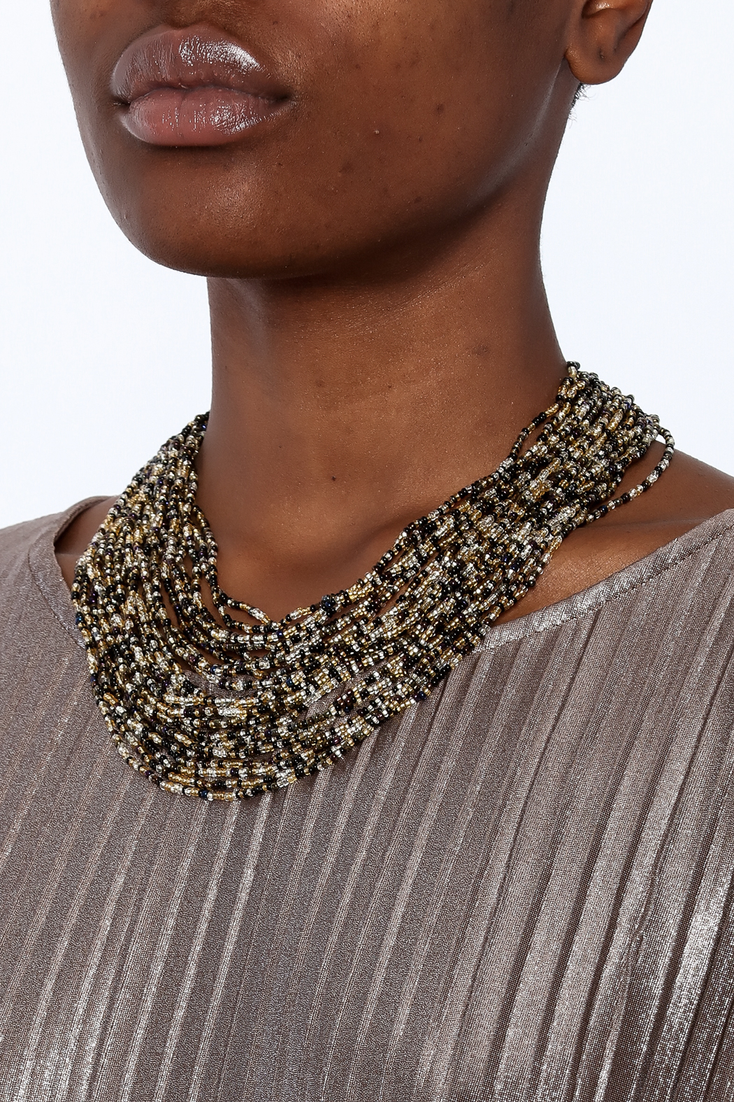 tu-anh Multi-Strand Glass Necklace - Back Cropped Image