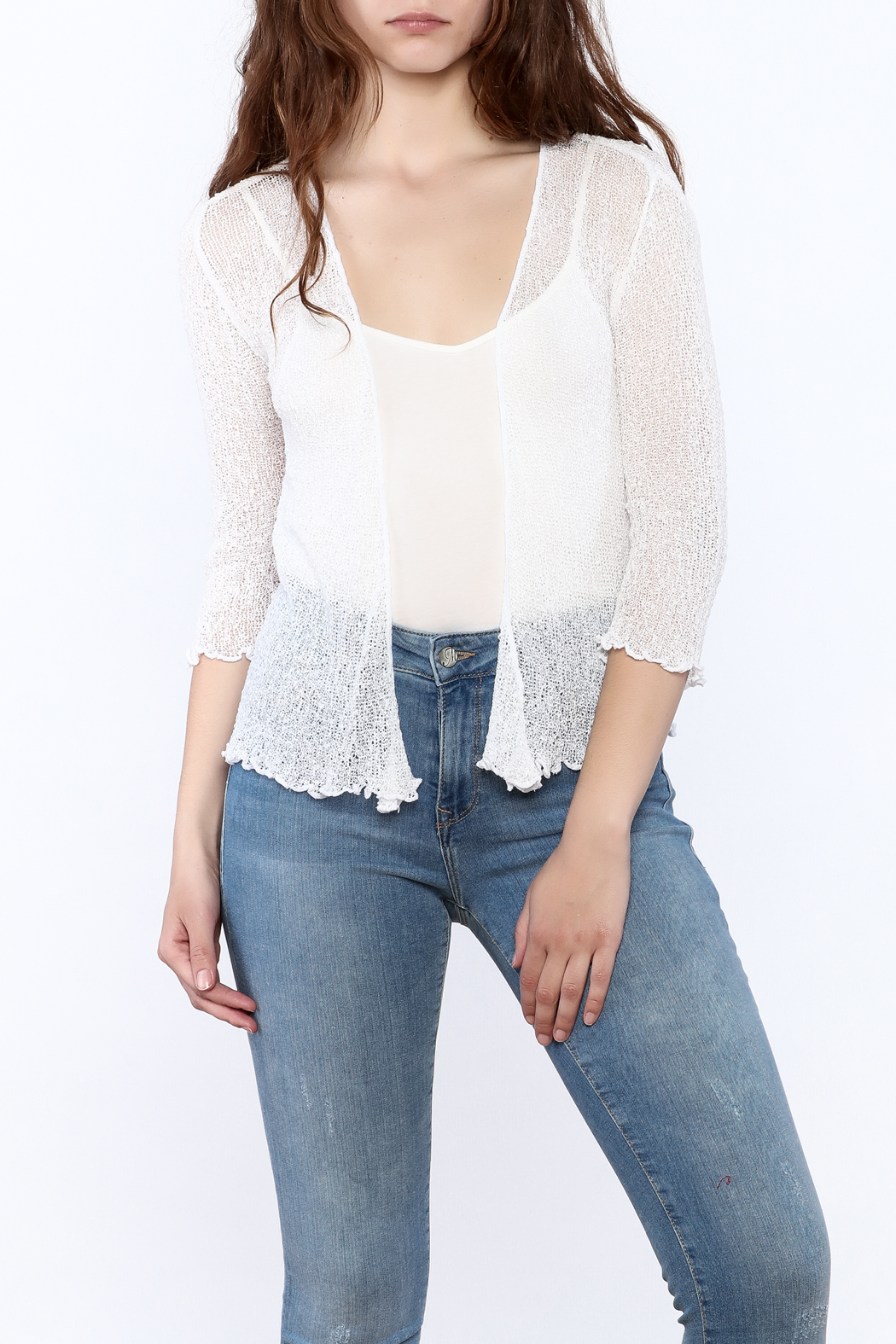 tu-anh Sheer Soft Cardigan - Front Cropped Image