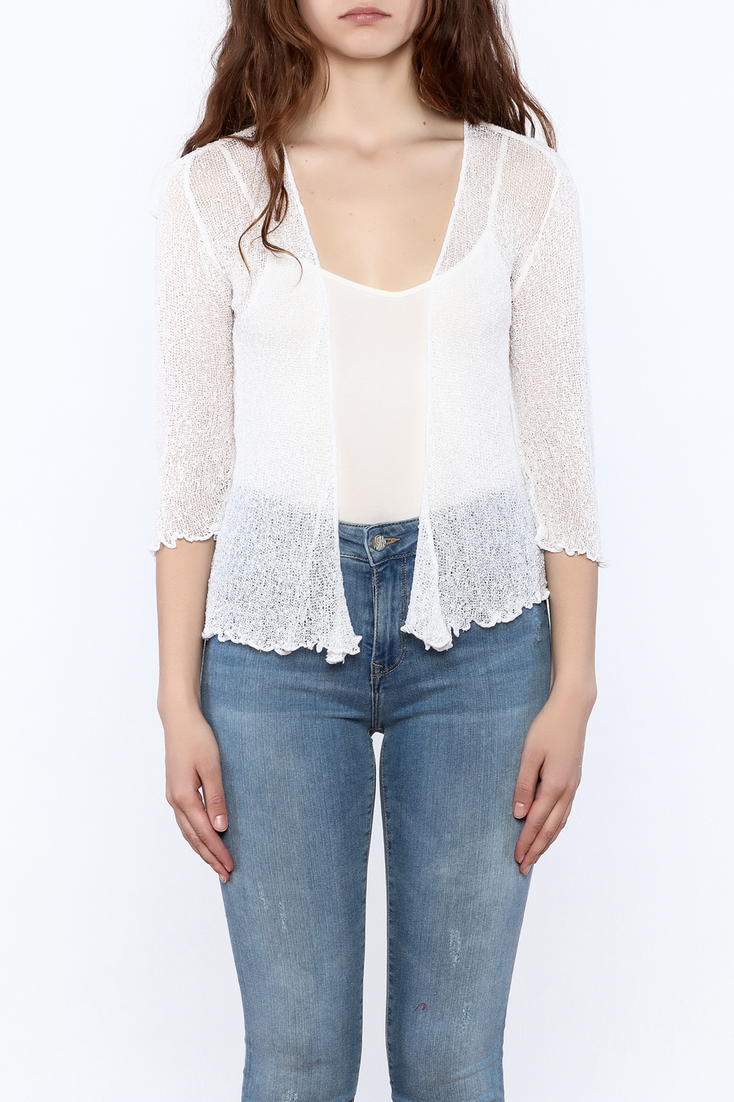 tu-anh Sheer Soft Cardigan - Side Cropped Image