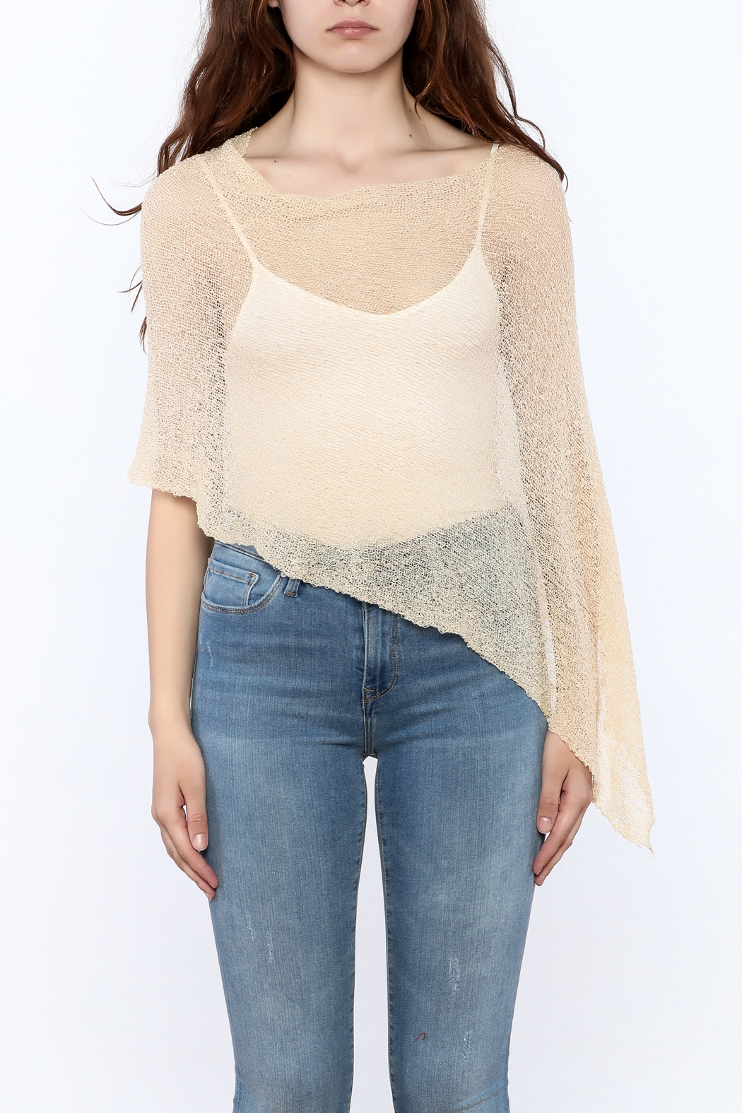 tu-anh Sheer Soft Poncho - Side Cropped Image