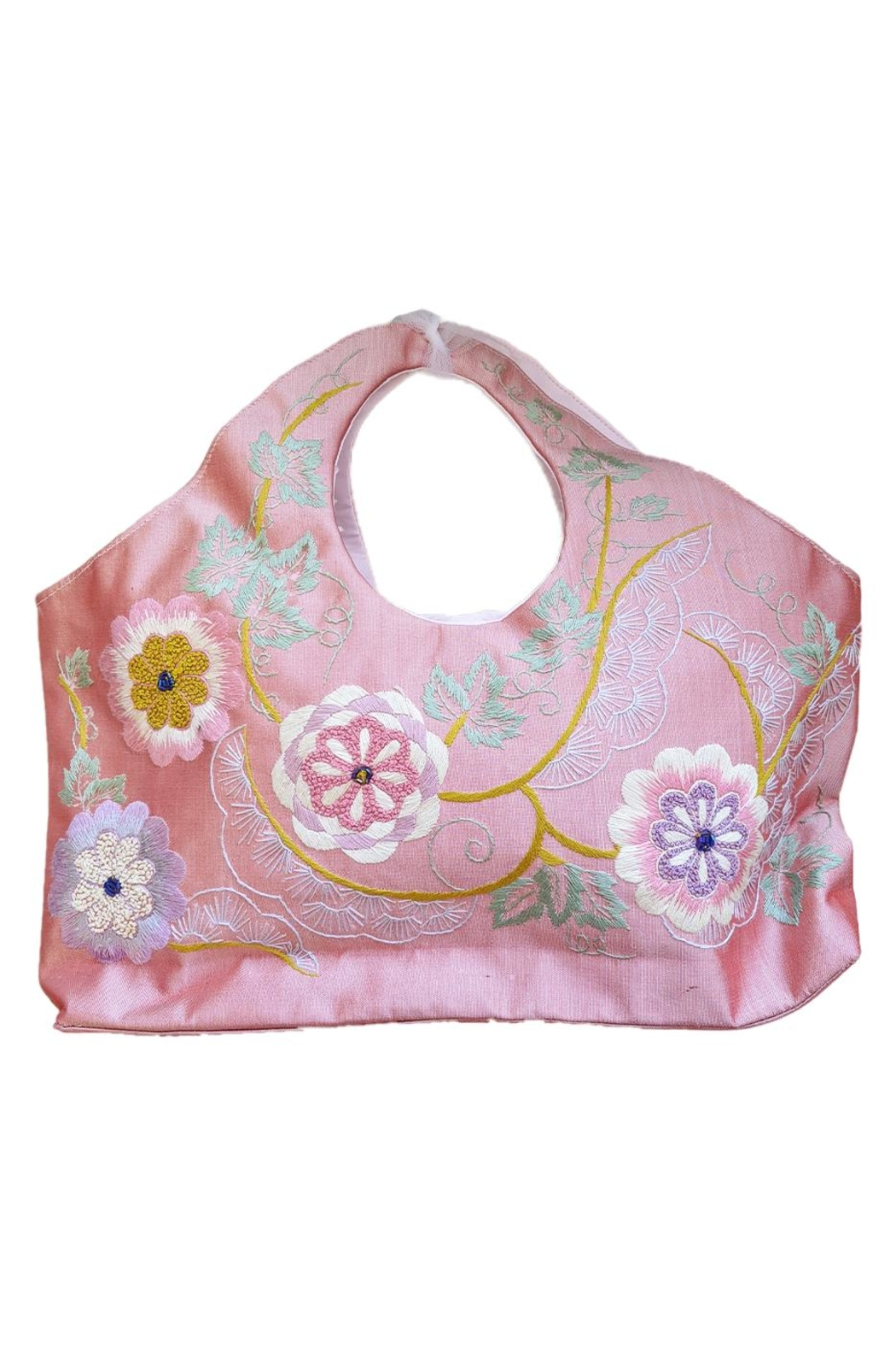 tu-anh Peach Floral Silk Shantung Bag - Front Cropped Image