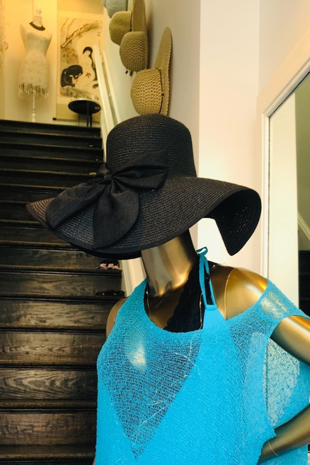 tu-anh boutique Black Bow Sunhat - Front Full Image