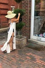 tu-anh boutique Cream Cotton Maxi Dress With Tassels - Front cropped
