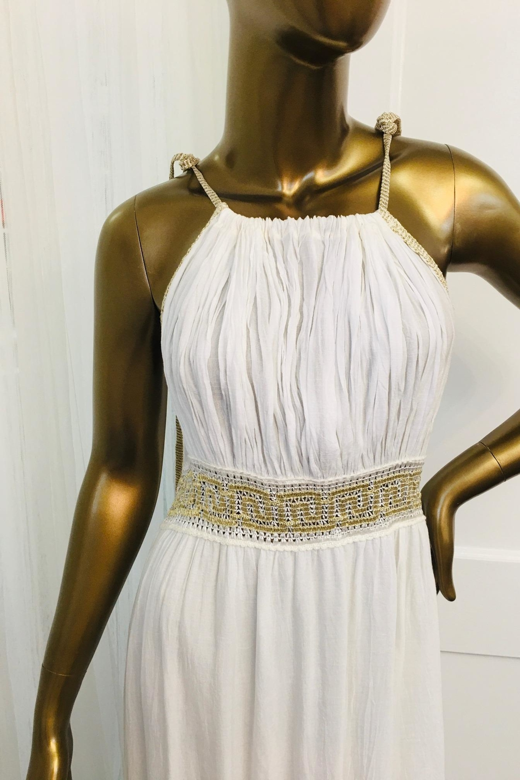 tu-anh boutique Cream Goddess Maxi Dress With Gold Metallic - Front Full Image