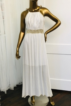 tu-anh boutique Cream Goddess Maxi Dress With Gold Metallic - Product List Image