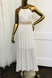 tu-anh boutique Cream Goddess Maxi Dress With Gold Metallic - Product Mini Image