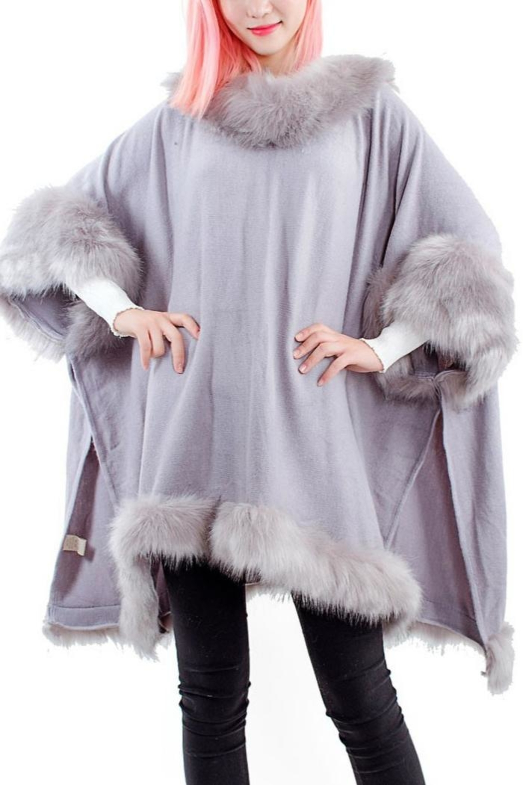 tu-anh boutique Grey Faux Fur Poncho - Front Full Image