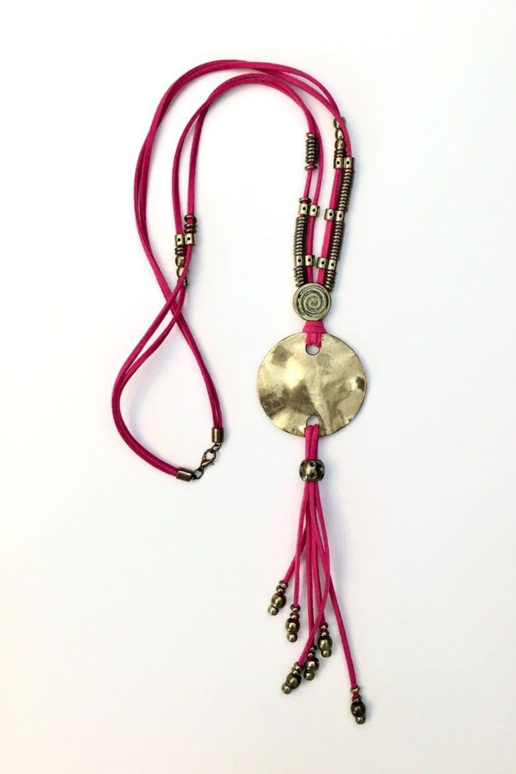 tu-anh boutique Greek Pink & Gold Plate Pendant - Front Full Image