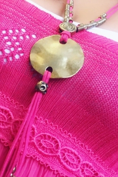tu-anh boutique Greek Pink & Gold Plate Pendant - Product List Image