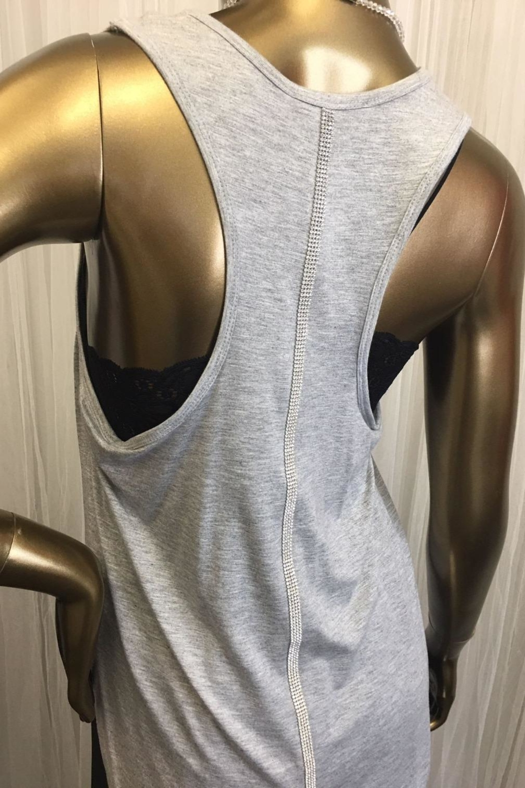 tu-anh boutique Grey Diamond Back Tank - Front Full Image