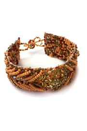 tu-anh boutique Hand-Beaded Orange Bracelet - Front full body