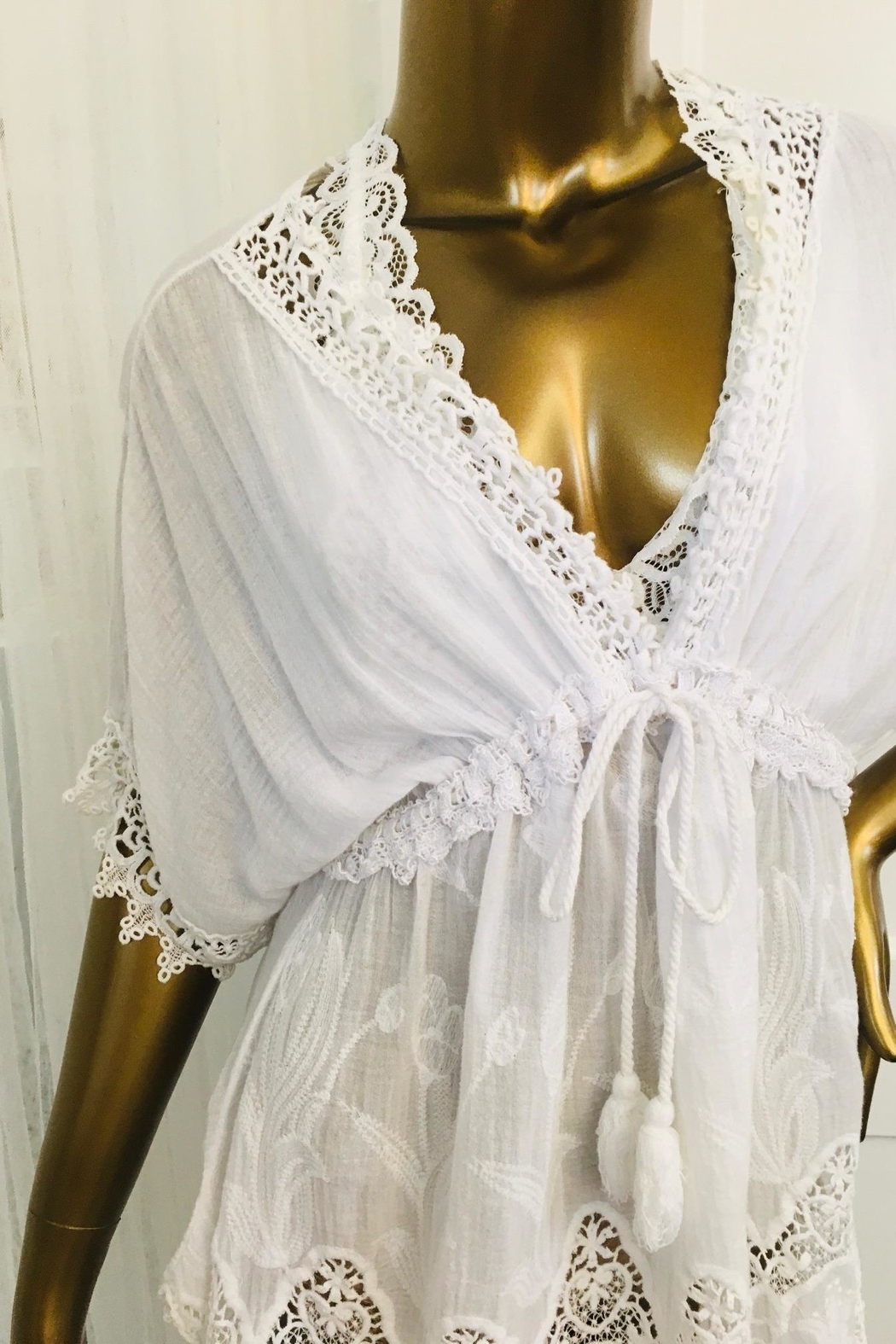 tu-anh boutique Italian White Cotton Dress - Front Full Image