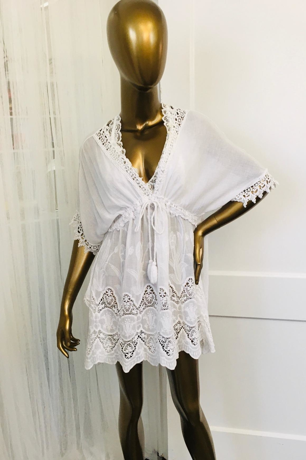 tu-anh boutique Italian White Cotton Dress - Front Cropped Image