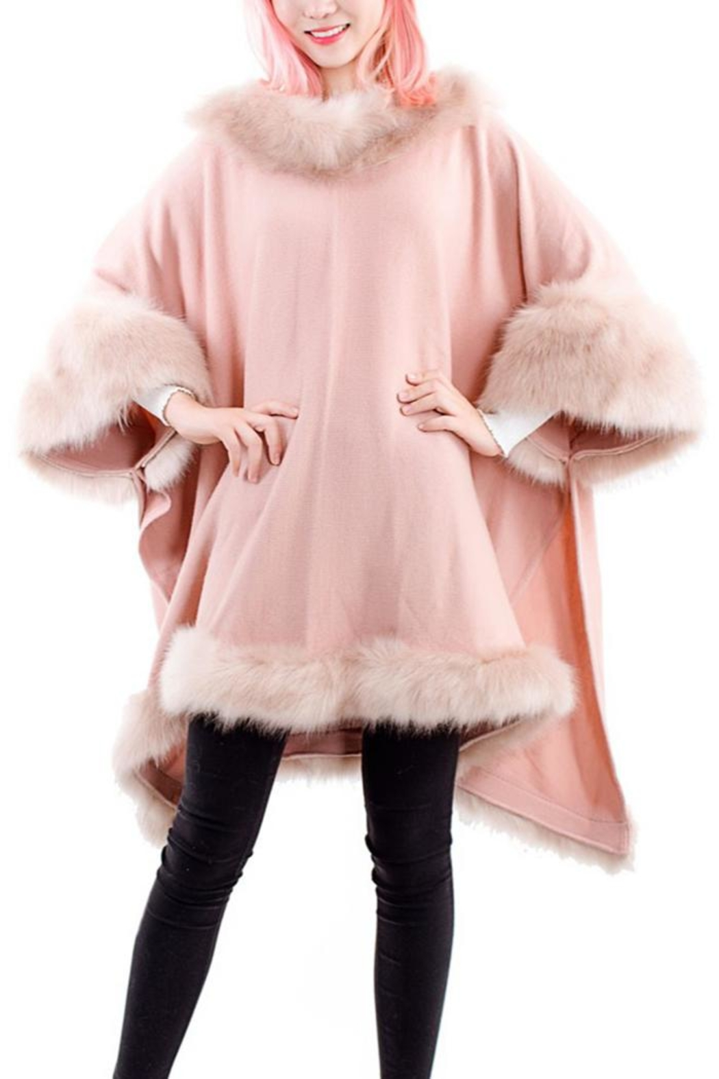 tu-anh boutique Pink Faux Fur Poncho Top - Front Full Image