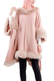 tu-anh boutique Pink Faux Fur Poncho Top - Product Mini Image