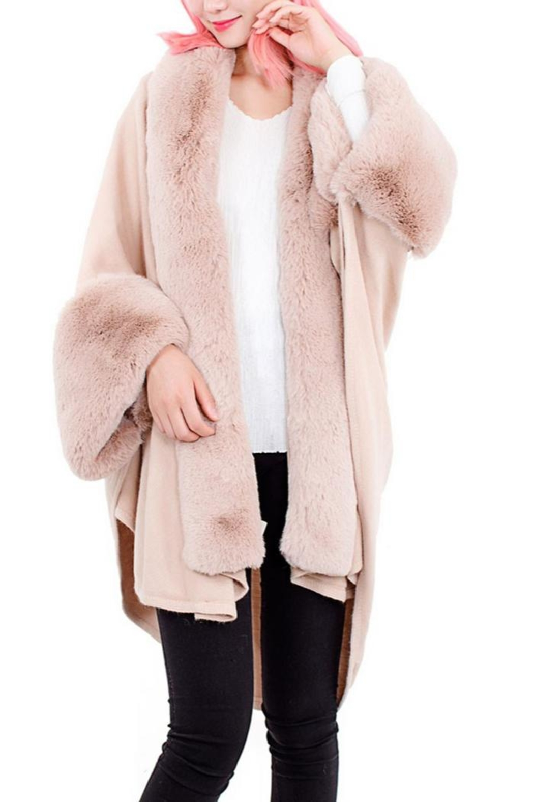 tu-anh boutique Pink Faux Rabbit Fur Poncho - Main Image