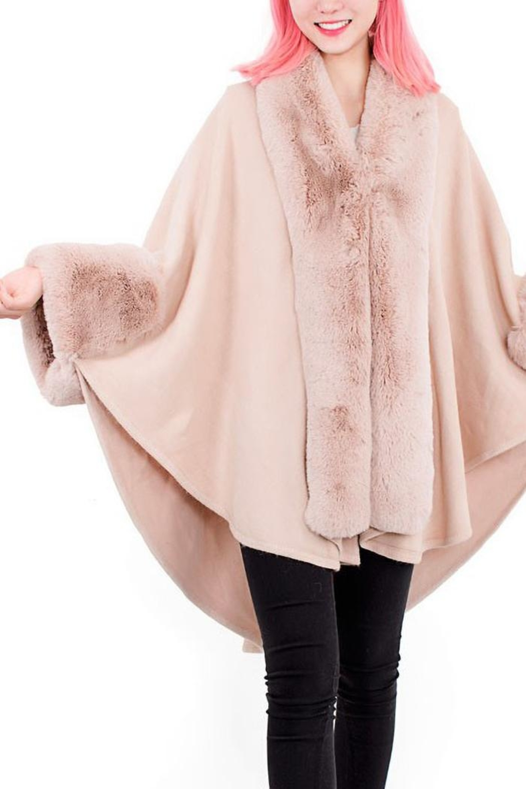 tu-anh boutique Pink Faux Rabbit Fur Poncho - Front Full Image