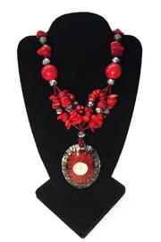 tu-anh boutique Red Pendant Necklace - Front full body