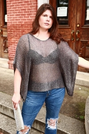 tu-anh boutique Silver Shimmer Knit Top - Front cropped