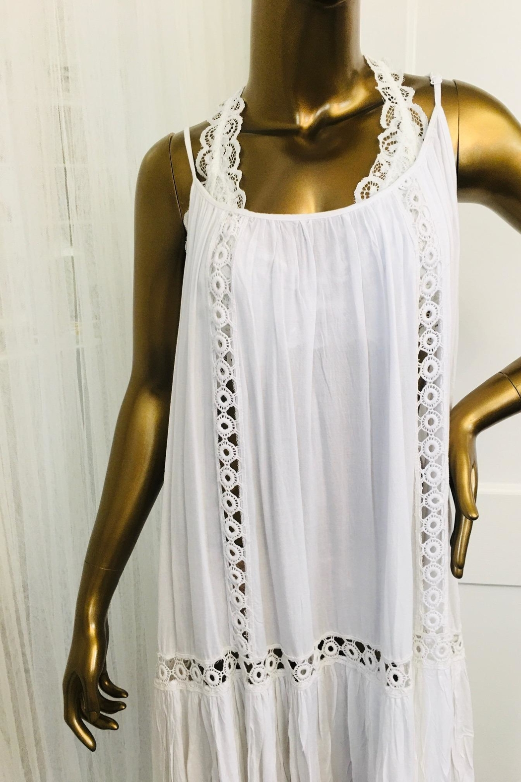 tu-anh boutique White Rayon Dress With Spaghetti Straps - Front Full Image