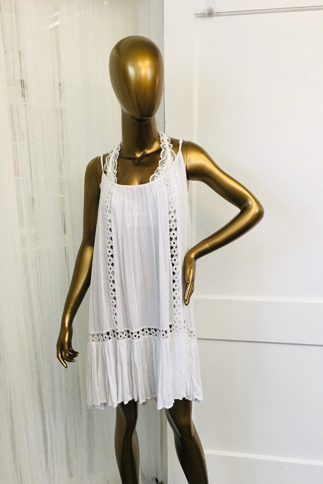 tu-anh boutique White Rayon Dress With Spaghetti Straps - Main Image