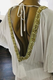tu-anh boutique White Rayon Open Back Top With Gold Trim - Front full body
