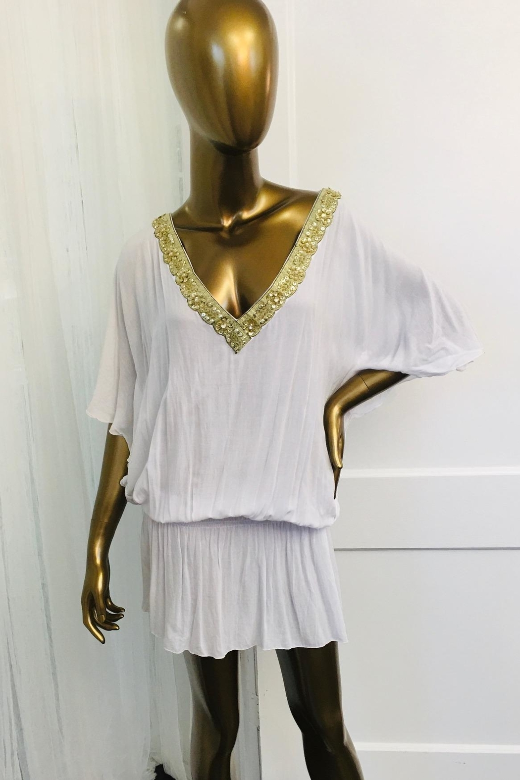 tu-anh boutique White Rayon Open Back Top With Gold Trim - Main Image