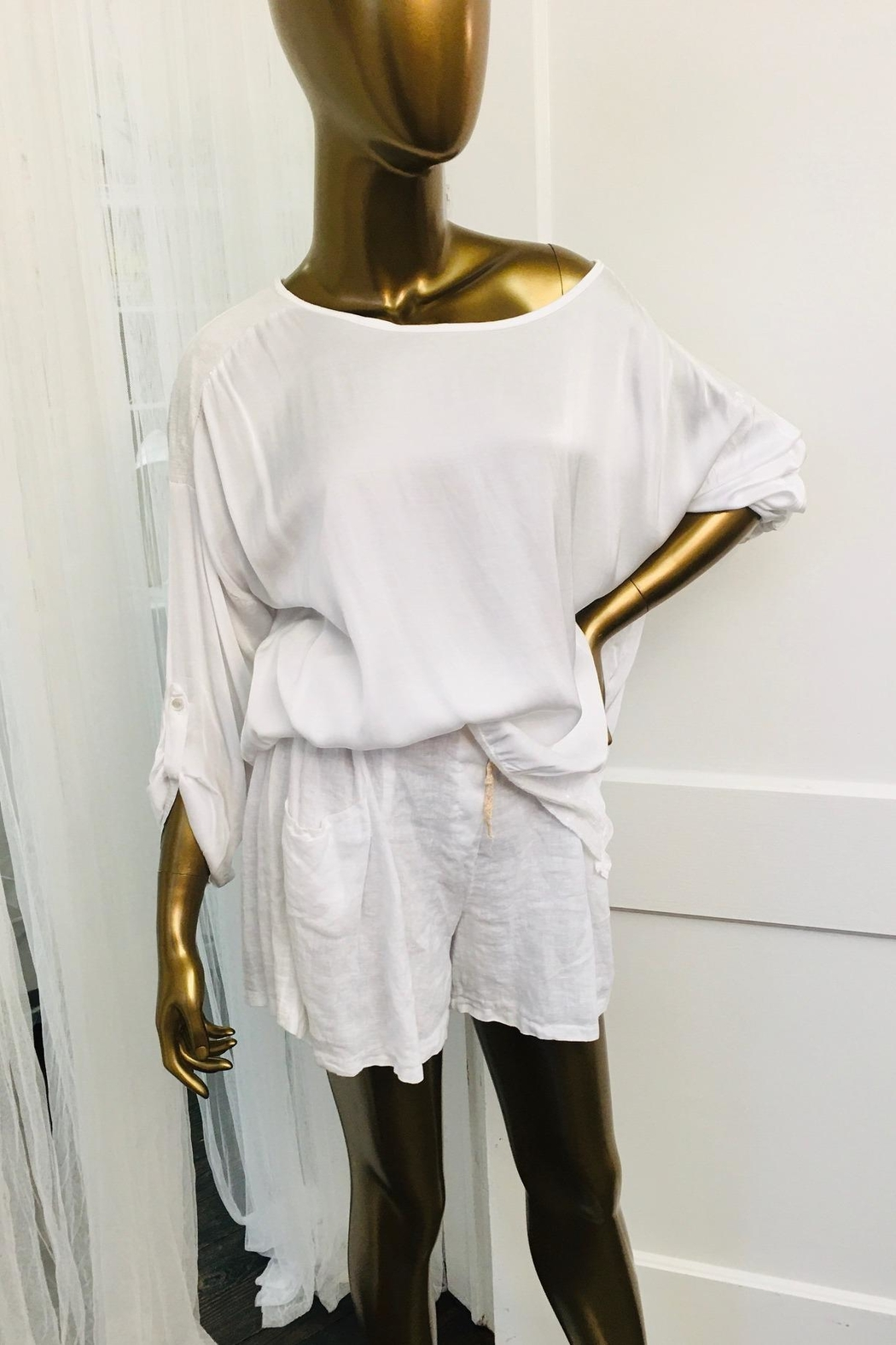 tu-anh boutique White Silk-Sequin Top - Main Image