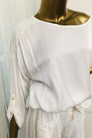 tu-anh boutique White Silk-Sequin Top - Front full body