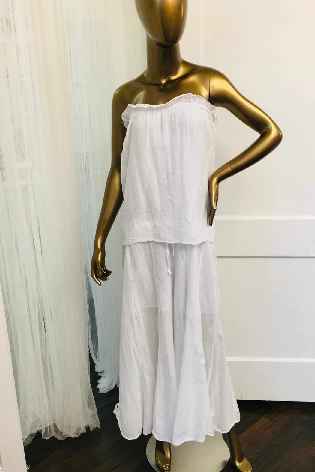tu-anh boutique White Strapless Jumpsuit - Side Cropped Image