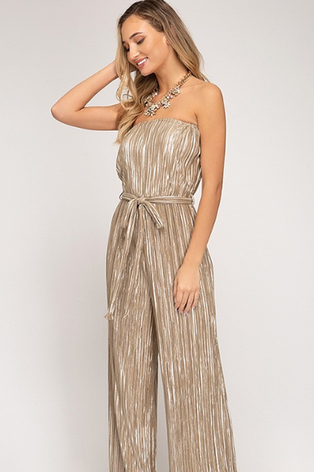 She + Sky Tube Top Pleated Metallic Jumpsuit - Front Cropped Image