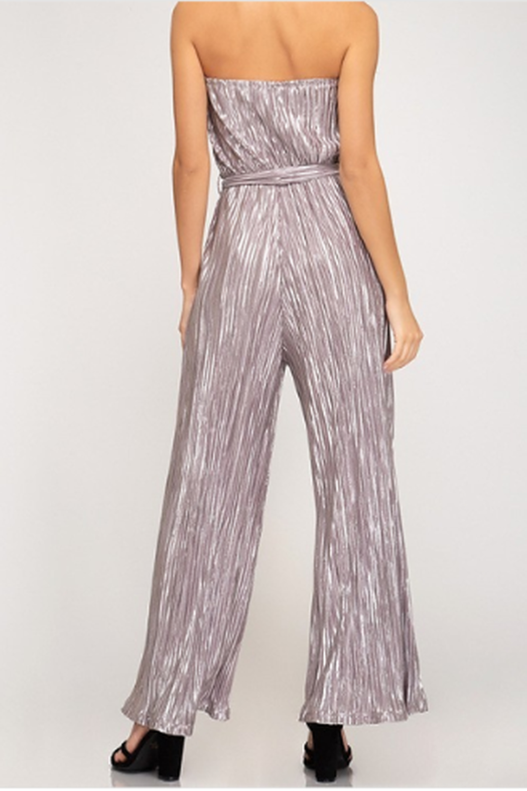 She + Sky Tube Top Pleated Metallic Jumpsuit - Front Full Image
