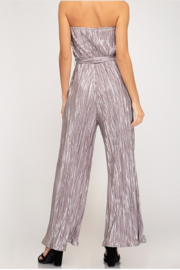 She + Sky Tube Top Pleated Metallic Jumpsuit - Front full body