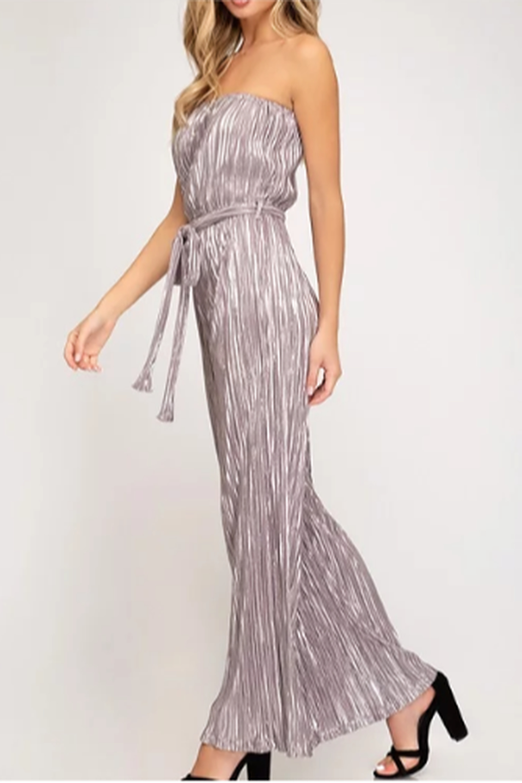 She + Sky Tube Top Pleated Metallic Jumpsuit - Side Cropped Image