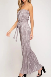 She + Sky Tube Top Pleated Metallic Jumpsuit - Side cropped