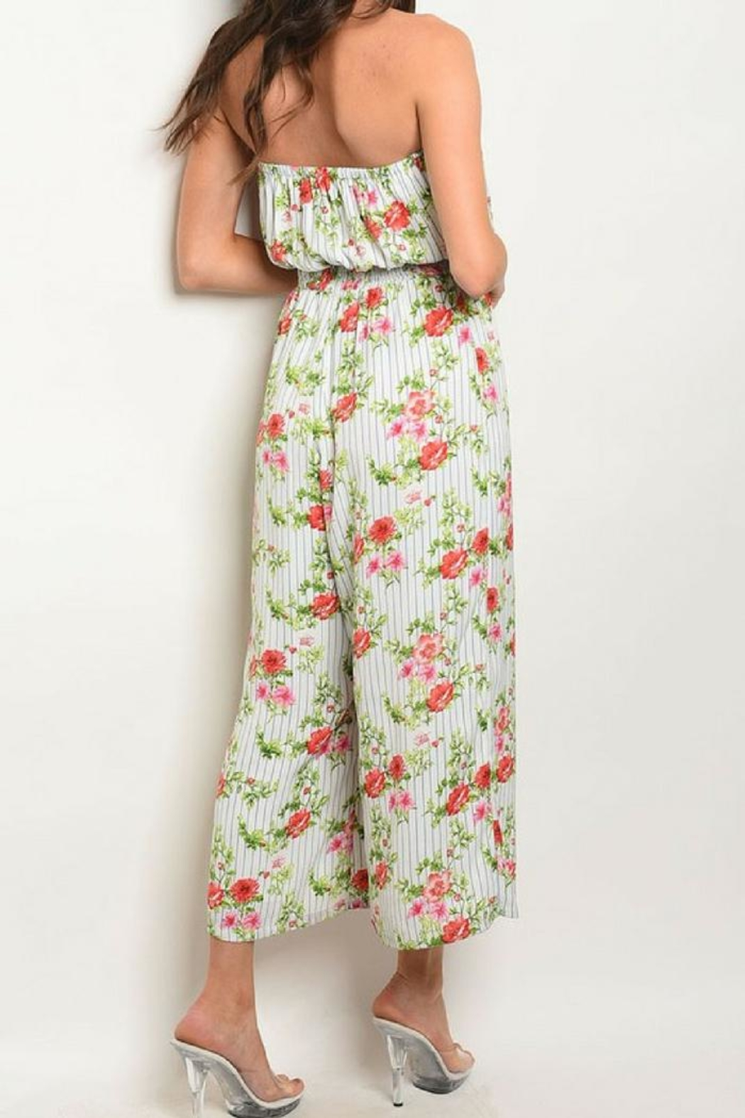 Available Tube-Top Smock-Waist Jumpsuit - Front Full Image