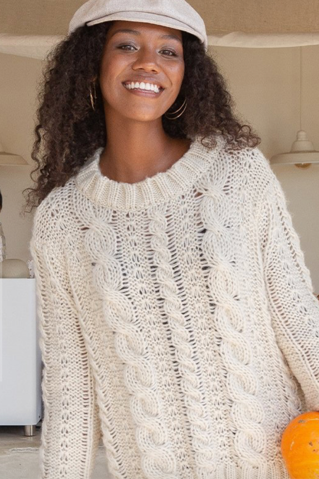 Wooden Ships Tuck Cable Boyfriend Sweater - Front Full Image