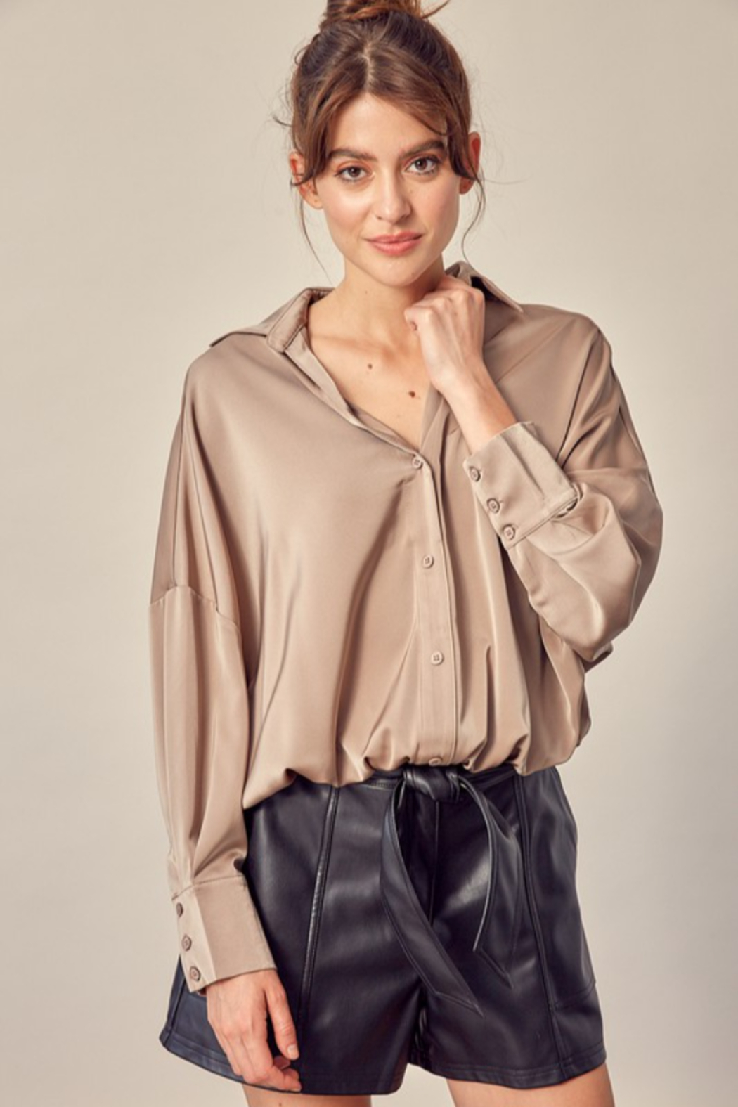 Mustard Seed Tucked Bottom Shirt - Front Cropped Image