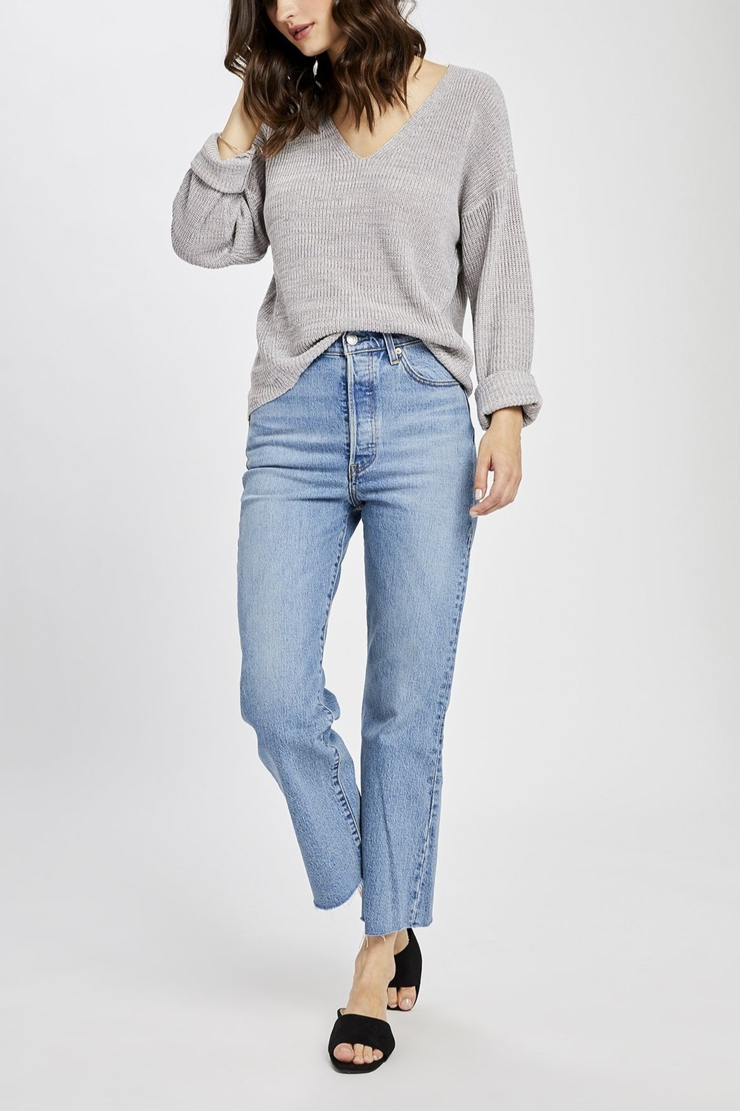 Gentle Fawn Tucker V-neck Pullover Sweater - Front Cropped Image