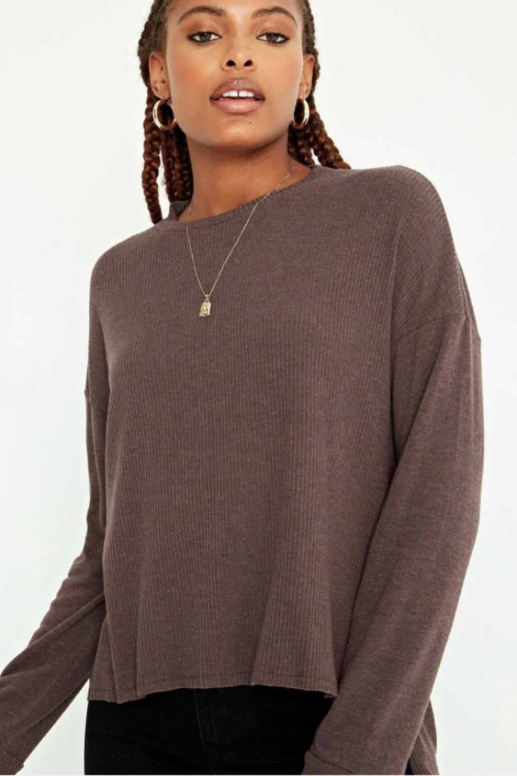 Project Social T Tula Rib Mix Long Sleeve - Front Cropped Image
