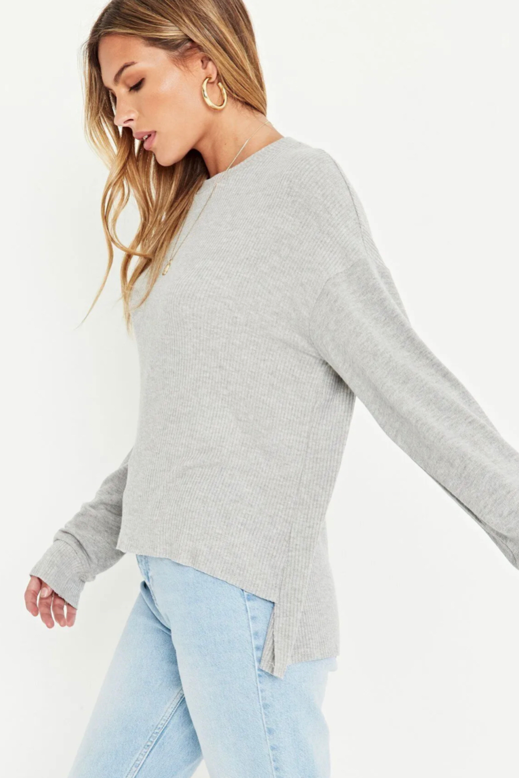 Project Social T Tula Rib Mix Long Sleeve - Back Cropped Image