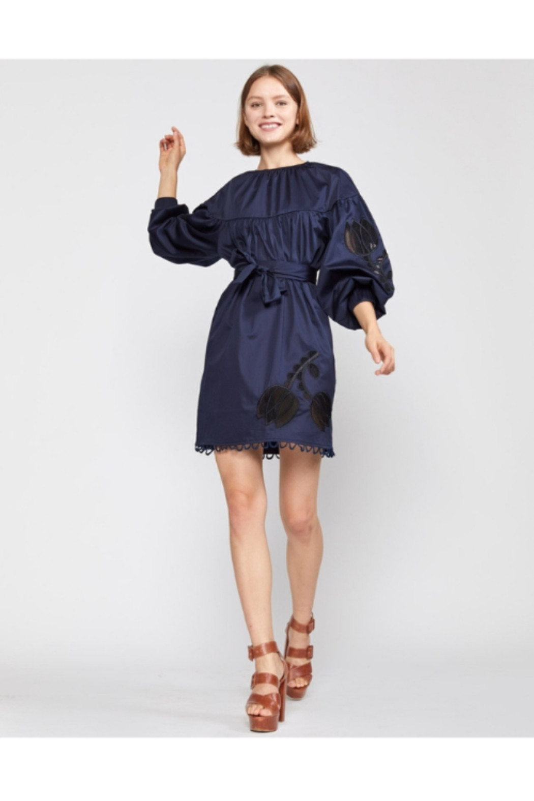 Cynthia Rowley Tulip Lace Embroidered Dress - Back Cropped Image