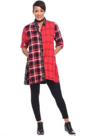 Tulip Plaid Flannel Tunic - Front cropped